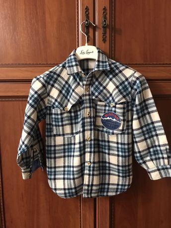 Теплая рубашка для мальчика 6-8 лет, состояние идеальное. Италия