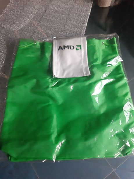 Plecak plecaczek torebka Amd zielona nowa 34x36 cm torba worek AMD