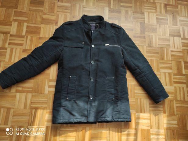 Płaszcz L 40 płaszczyk kurtka zimowy zimowa męska czarny czarna