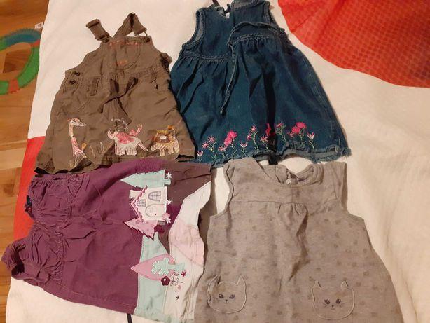 Trzy urocze sukieneczki dla córeczki 86-92,a czwarta GRATIS