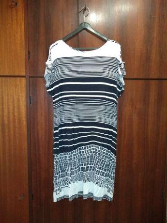 Sukienka Damska W Paski Biała Czarna Rozmiar 50