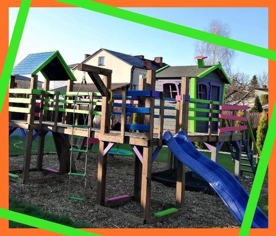 Mega plac zabaw 8w1! Domek, wieże, mosty, huśtawki, ślizg, ścianka itd