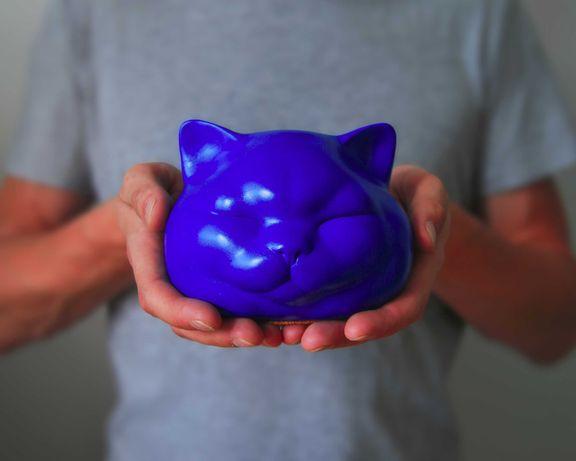 Niebieska Figurka Kota, Rzeźba Kota, Holy Cats