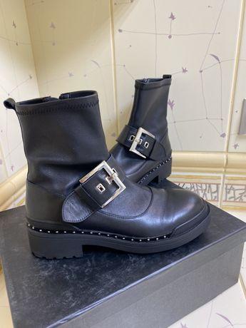 Ботинки сапоги кожа 39 twin set liu jo moschino preppy