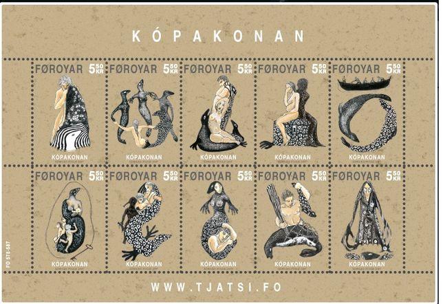 Znaczek, znaczki Wyspy Owcze, bloczek 10szt Kopakonan