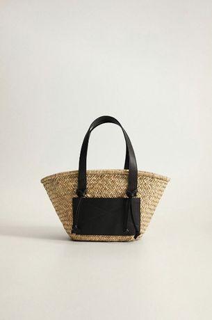 MANGO Новая плетеная соломенная пляжная женская сумка корзинка МАНГО