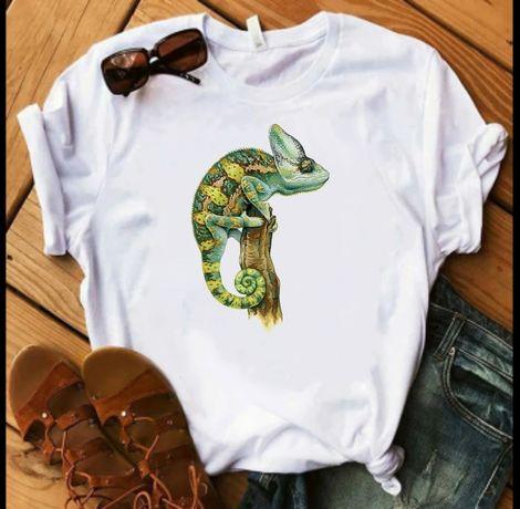 Koszulka t-shirt bluzka biała kameleon gad S-XXL