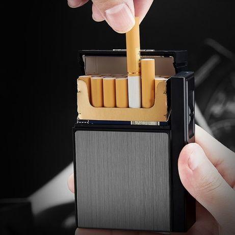 Кейс для пачки сигарет с зажигалкой + запасная спираль. Портсигар.
