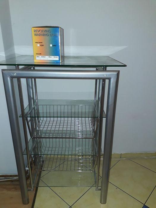 Regał,szafka rtv ,metalowa ze szklanymi półkami. Prudnik - image 1