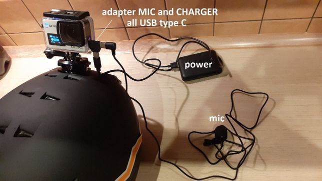Adapter USBC mikrofon power bank kamera SjCam SJ8Pro 9 10 Micro charge