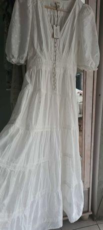 LE sukienka biala XS newbie 62,68,74,80,86,92,98,104,110,116,122,128