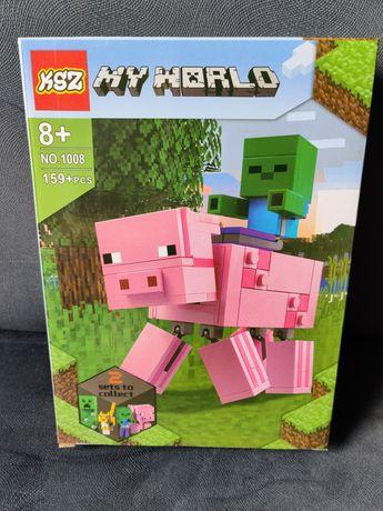 Klocki Minecraft, MY World BigFig, Świnka i mały zombie - Nowe!!