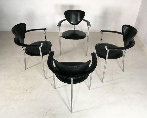 Arrben włoskie krzesła skóra lata 80 90 vintage design