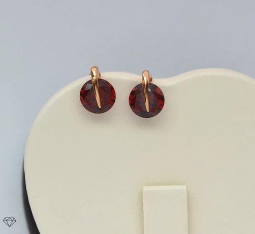 Серьги с красным кристаллом покрытие 18к Xuping.