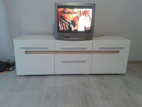 Склад мебели.Тумба под телевизор Бьянко. Белая тумбочка ТВ. Глянец.