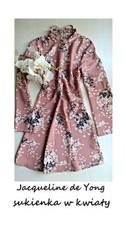 Sukienka w kwiaty ze stójką XS-S długi rękaw