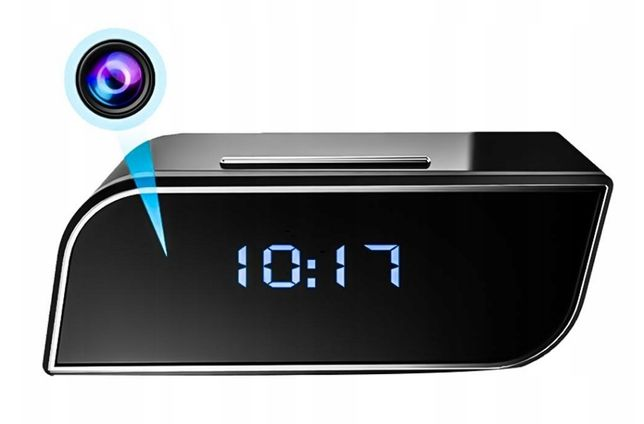 Zegar mini ukryta kamera szpiegowska WiFi budzik