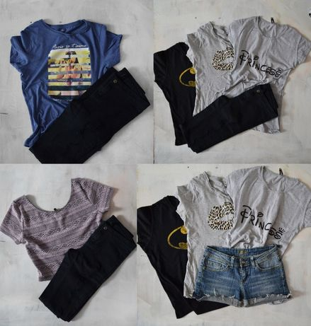 MEGA PAKA zestaw ubrań S 36 M 38 koszulki spodnie