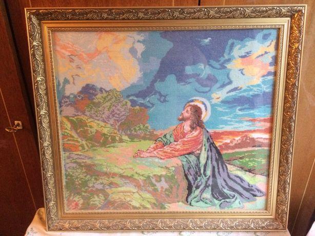 Картина ручной вышивки крестиком в рамке со стеклом 63х56