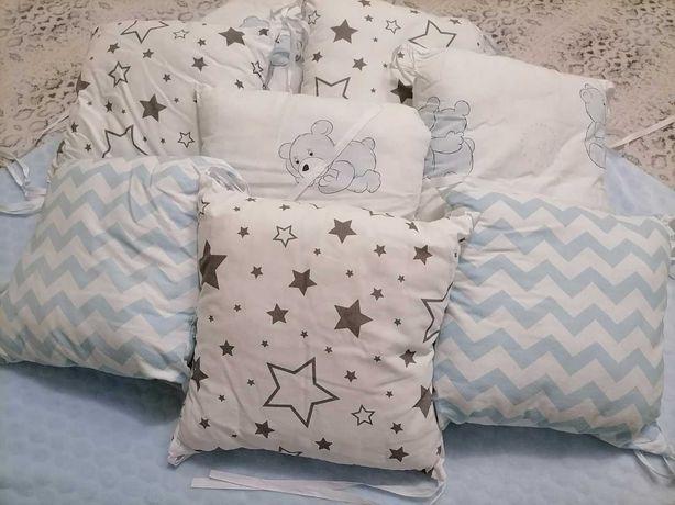 Бортики-подушки для детской кроватки + простынь