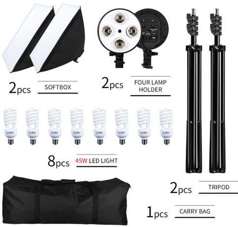 Kit 2 SoftBox 180W + 2 Tripés + 8 Lâmpadas 45W + 1 Saco