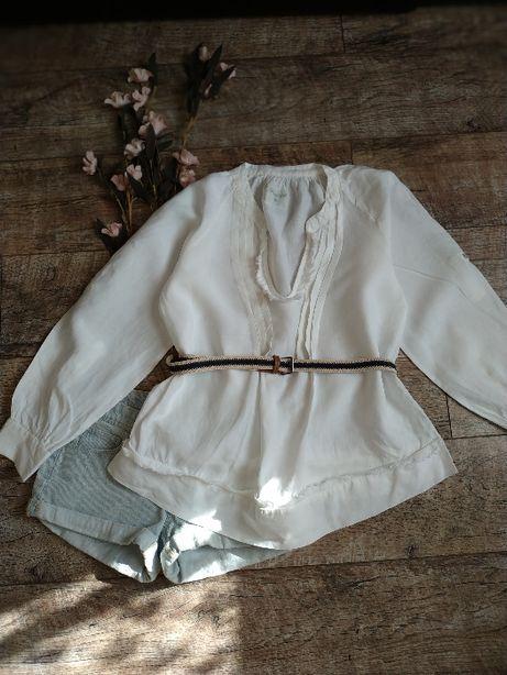 Объемная леновая блуза туника из 100% льна белая с длинным рукавом