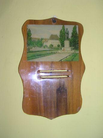 Stara drewniana oprawa na kalendarz czasy PRL-u
