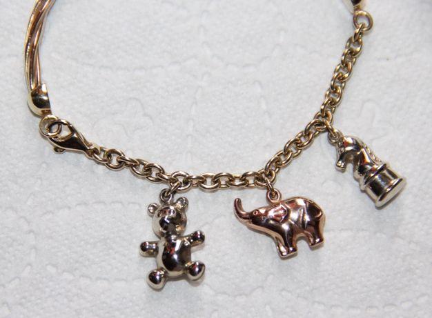 złoto złota bransoletka charms słonik miś 585 apart pandora bransoleta