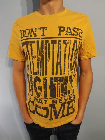 Koszulka żółta Insider z nadrukiem L nowa T-shirt męska z krótkim