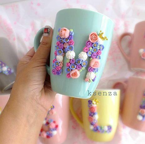 Акция! Чашка с декором из полимерной глины