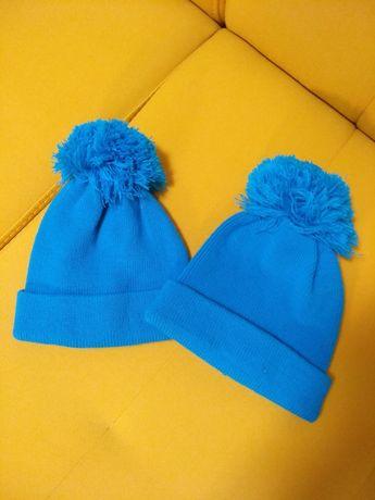 Детские шапки  головные уборы бубон новые 2 штуки