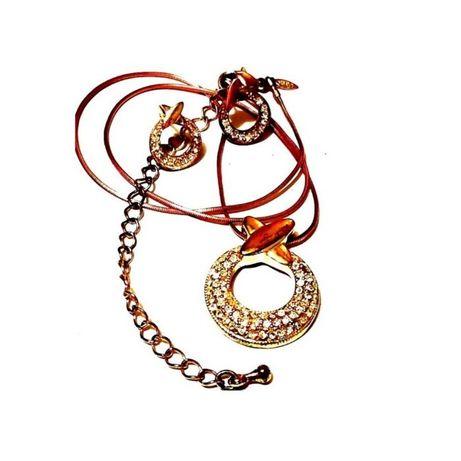 Ожерелье и серьги с кристаллами в наборе +серьги в подарок