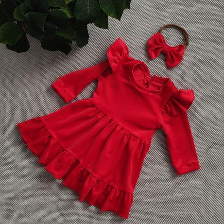 Czerwona sukienka welur z falbanką, opaska z kokardą, sesja, święta,92