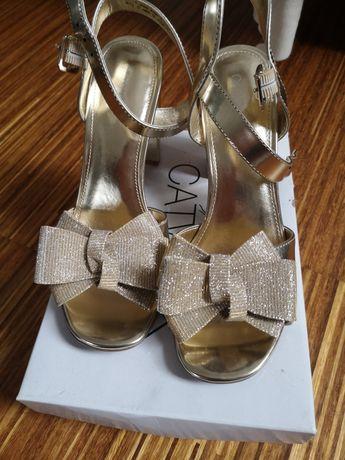 Sandałki catwalk złote nowe 39 okazja