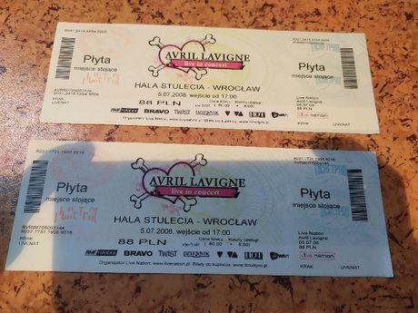 Bilet z koncertu Avril Lavigne we Wrocławiu 2008, nieużyty!