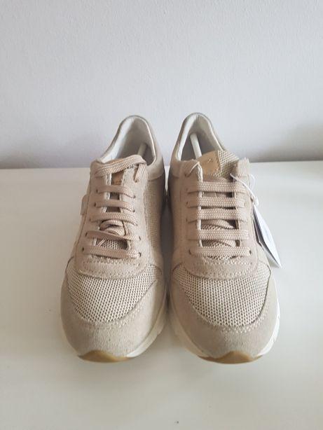 GEOX buty sportowe beżowo złote