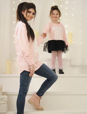 Платье (туника) мама-дочка розовые family look фэмили лук