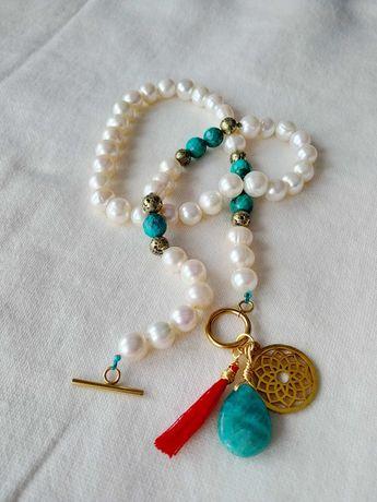 Naszyjnik z pereł naturalnych i turkusu biżuteria perły
