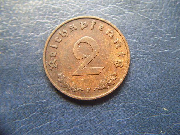 Stare monety 2 reichsfenigi 1939 F Niemcy