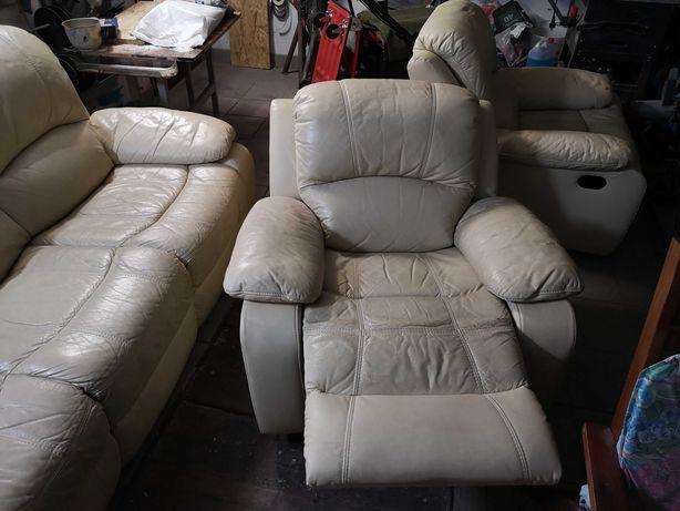 Meble skórzane sofa plus 2 fotele.