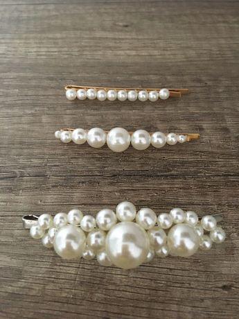 Zestaw spinki wsuwki ozdobne masa perłowa ślubne glamoure