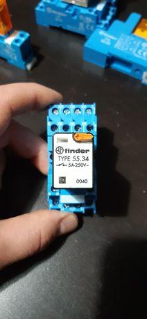 Nowe Przekaźniki Finder 55.34 + gniazdo przekaźnika Finder 94.74 7szt