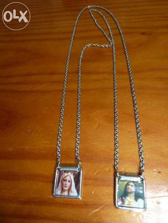 Fio com medalhas de Maria e Jesus