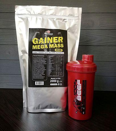 Гейнер 2 кг+Шейкер! Протеин, ВСАА, Креатин