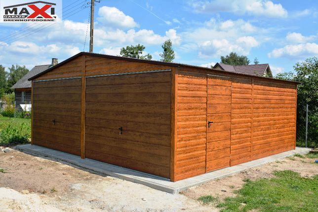 Garaz blaszany, 6x5 konstrukcja ocynk, profil, drewnopodobny, MAXI