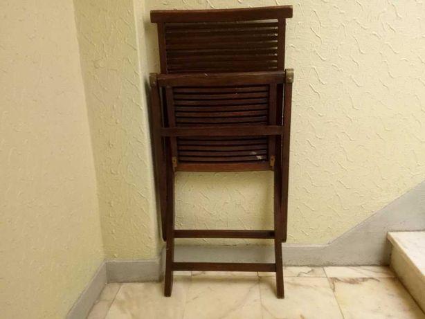 Conjunto 4 cadeiras Articuladas em madeira mogno
