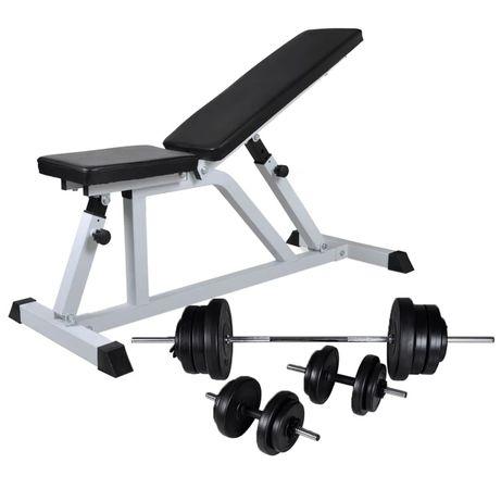 vidaXL Banco musculação c/ conjunto de barras e halteres 60,5 kg 275346