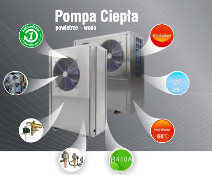 Pompa Ciepła Powietrze woda KROMMLER EVI 7kW-45kW do c.w.u. i c.o.