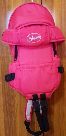 Кенгуру рюкзак для грудничков с капюшоном розовый.