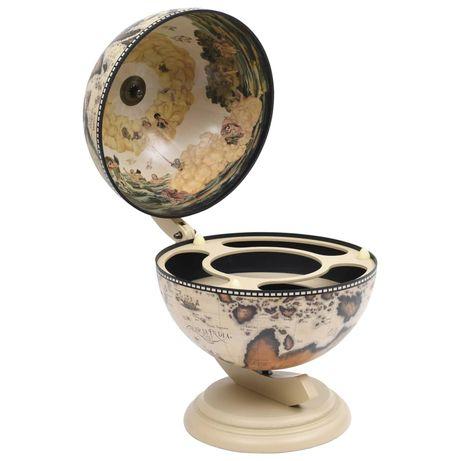 vidaXL Garrafeira de mesa em forma de globo madeira de eucalipto branco 320911
